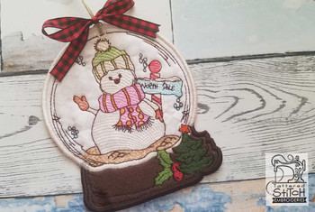 "Snowman in Snow Globe Ornament - In the Hoop - Fits a 4x4 and 5x7"" Hoop - Machine Embroidery Designs"