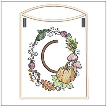 Pumpkin Wreath Bunting ABCs - C - Embroidery Designs