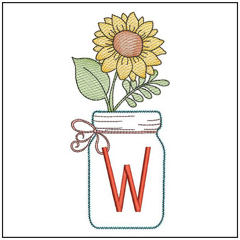 Sunflower Mason Jar ABCs - W - Embroidery Designs