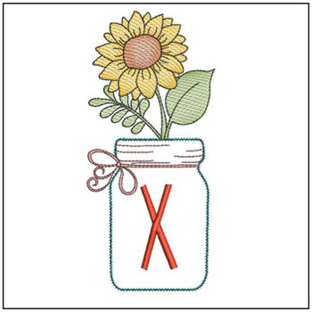 Sunflower Mason Jar ABCs - X - Embroidery Designs