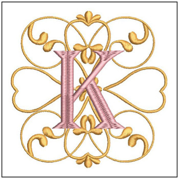 Monogram Swirls ABCs - K - Embroidery Design