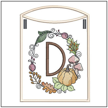 Pumpkin Wreath Bunting ABCs - D - Embroidery Designs