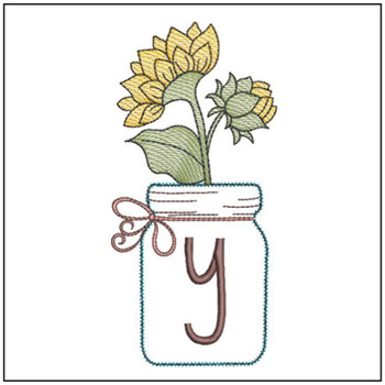 Sunflower Mason Jar ABCs - Y - Embroidery Designs
