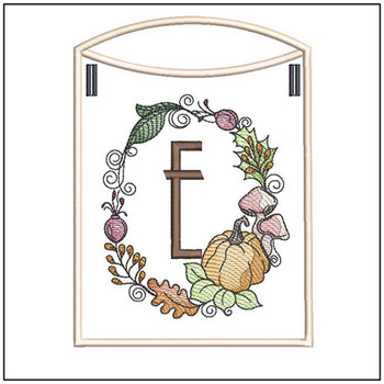 Pumpkin Wreath Bunting ABCs - E - Embroidery Designs