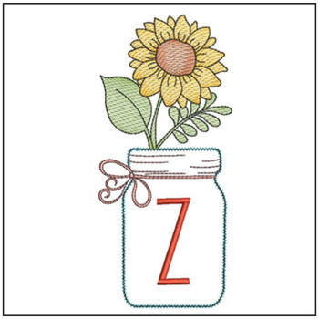 Sunflower Mason Jar ABCs - Z - Embroidery Designs