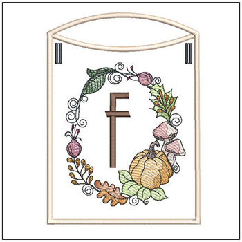 Pumpkin Wreath Bunting ABCs - F - Embroidery Designs