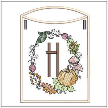 Pumpkin Wreath Bunting ABCs - H - Embroidery Designs