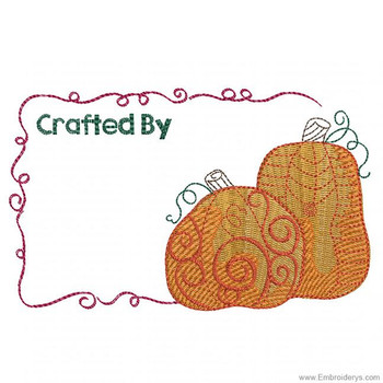 Whimsical Pumpkins Quilt Label - Embroidery Designs