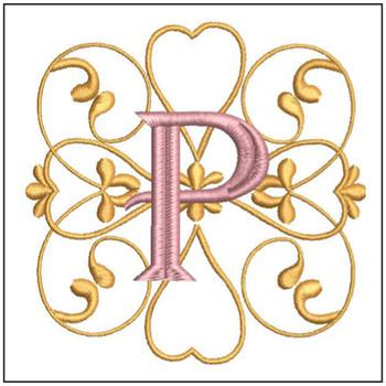 Monogram Swirls ABCs - P - Embroidery Designs