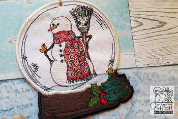 Snowman with Broomstick in Snow Globe Ornament