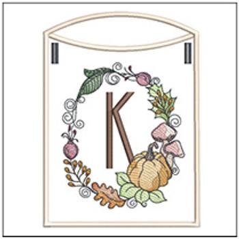 Pumpkin Wreath Bunting ABCs - K - Embroidery Designs