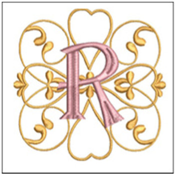 "Monogram Swirls ABCs - R - Fits a 4x4"" Hoop - Machine Embroidery Designs"