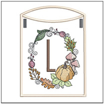 Pumpkin Wreath Bunting ABCs - L - Embroidery Designs