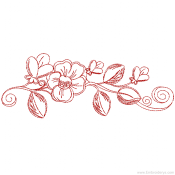 Desert Rose Border Redwork - Embroidery Designs