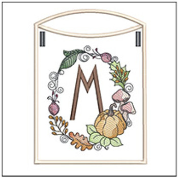 Pumpkin Wreath Bunting ABCs - M - Embroidery Designs