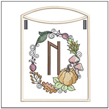 Pumpkin Wreath Bunting ABCs - N - Embroidery Designs