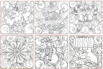 30% Off - Christmas Quilt Blocks 2 - Multiple Sizes - In the Hoop - Continuous Line - Instant Downloadable Machine Embroidery