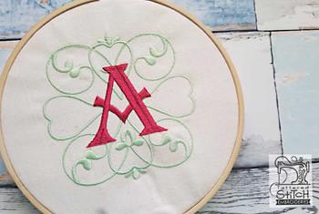 "Monogram Swirls ABCs - V - Fits a 4x4"" Hoop - Machine Embroidery Designs"