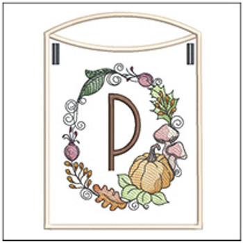 Pumpkin Wreath Bunting ABCs - P - Embroidery Designs