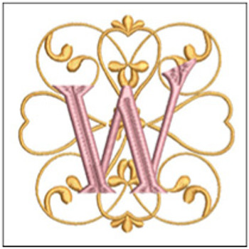 "Monogram Swirls ABCs - W - Fits a 4x4"" Hoop - Machine Embroidery Designs"