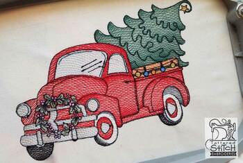 "Truck With Tree - Fits in a 5x7 and 8x8"" Hoop - Instant Downloadable Machine Embroidery"