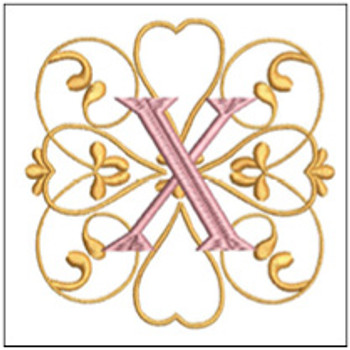 "Monogram Swirls ABCs - X - Fits a 4x4"" Hoop - Machine Embroidery Designs"