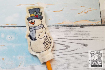 Snowman Pencil Topper - In the Hoop - Machine Embroidery Designs