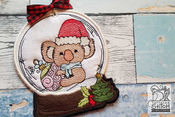 "Koala in Snow Globe Ornament - In the Hoop - Fits a 4x4 and 5x7"" Hoop - Machine Embroidery Designs"