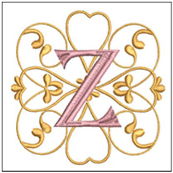 "Monogram Swirls ABCs - Z - Fits a 4x4"" Hoop - Machine Embroidery Designs"