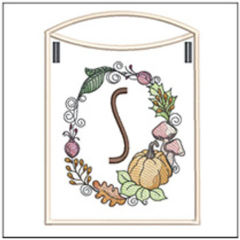 Pumpkin Wreath Bunting ABCs - S - Embroidery Designs