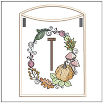 Pumpkin Wreath Bunting ABCs - T - Embroidery Designs