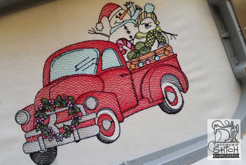 """Truck With Snowmen - Fits in a 5x7 and 8x8"""" Hoop - Instant Downloadable Machine Embroidery"""