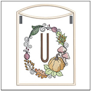 Pumpkin Wreath Bunting ABCs - U - Embroidery Designs