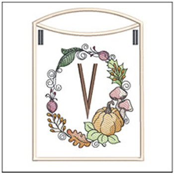 Pumpkin Wreath Bunting ABCs - V - Embroidery Designs