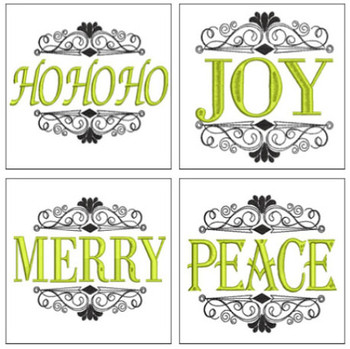 "30% Off - Holiday Phrases and Flourishes - Fits in a 4c4 and 5x7"" Hoop - Instant Downloadable Machine Embroidery"