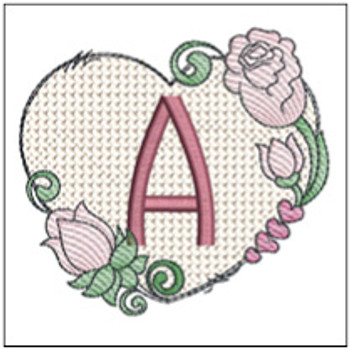 "Heart Monogram  ABCs - A - Fits a 4x4"" Hoop - Machine Embroidery Designs"