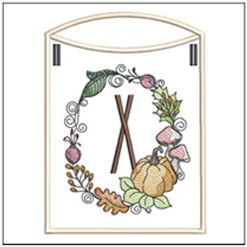 Pumpkin Wreath Bunting ABCs - X - Embroidery Designs