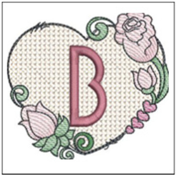 "Heart Monogram  ABCs - B - Fits a 4x4"" Hoop - Machine Embroidery Designs"