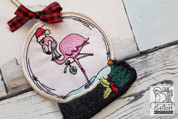 "Flamingo in Snow Globe Ornament - In the Hoop - Fits a 4x4 and 5x7"" Hoop - Machine Embroidery Designs"