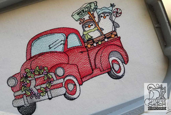 """Truck With Penguins - Fits in a 5x7 and 8x8"""" Hoop - Instant Downloadable Machine Embroidery"""