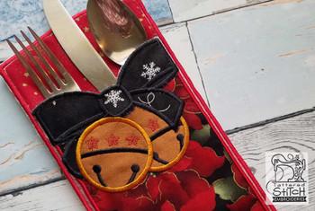 "Jingle Bells Silverware Setting - In the Hoop - Fits an 8x8"" Hoop - Machine Embroidery Designs"