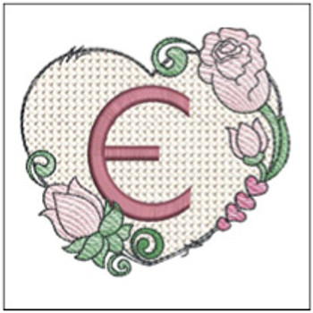 "Heart Monogram  ABCs - E - Fits a 4x4"" Hoop - Machine Embroidery Designs"