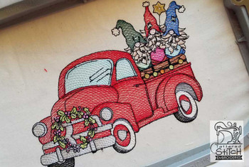 """Truck With Gnomes- Fits in a 5x7 and 8x8"""" Hoop - Instant Downloadable Machine Embroidery"""