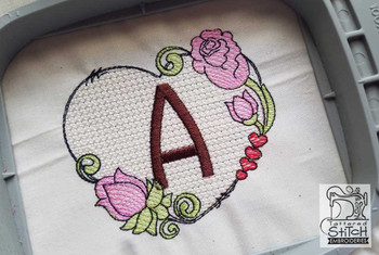"Heart Monogram  ABCs - F - Fits a 4x4"" Hoop - Machine Embroidery Designs"