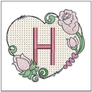 "Heart Monogram  ABCs - H - Fits a 4x4"" Hoop - Machine Embroidery Designs"