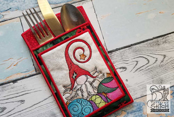 """Gnome Silverware Setting - In the Hoop - Fits an 6x10"""" Hoop - Machine Embroidery Designs"""