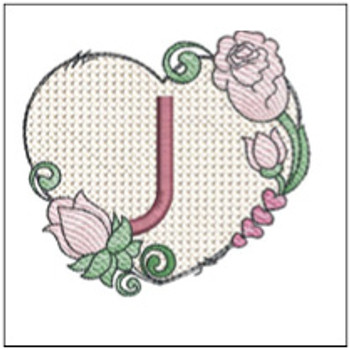 "Heart Monogram  ABCs - J - Fits a 4x4"" Hoop - Machine Embroidery Designs"