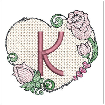 "Heart Monogram  ABCs - K - Fits a 4x4"" Hoop - Machine Embroidery Designs"