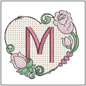 "Heart Monogram  ABCs - M - Fits a 4x4"" Hoop - Machine Embroidery Designs"