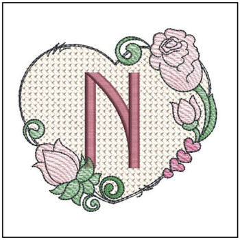 "Heart Monogram  ABCs - N - Fits a 4x4"" Hoop - Machine Embroidery Designs"